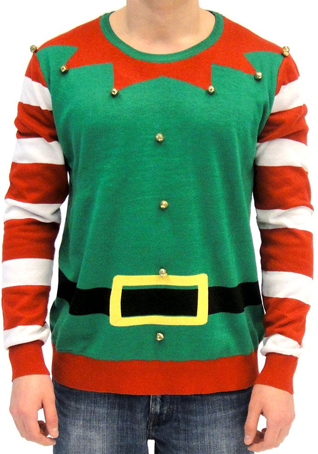 ugly christmas sweater elf with bells adult green and red costume sweater walmartcom - Ugly Christmas Sweater Elf