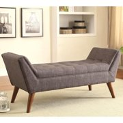 A Line Furniture Magnolia Mid Century Design Tufted Grey Upholstered Accent Ottoman/ Bench