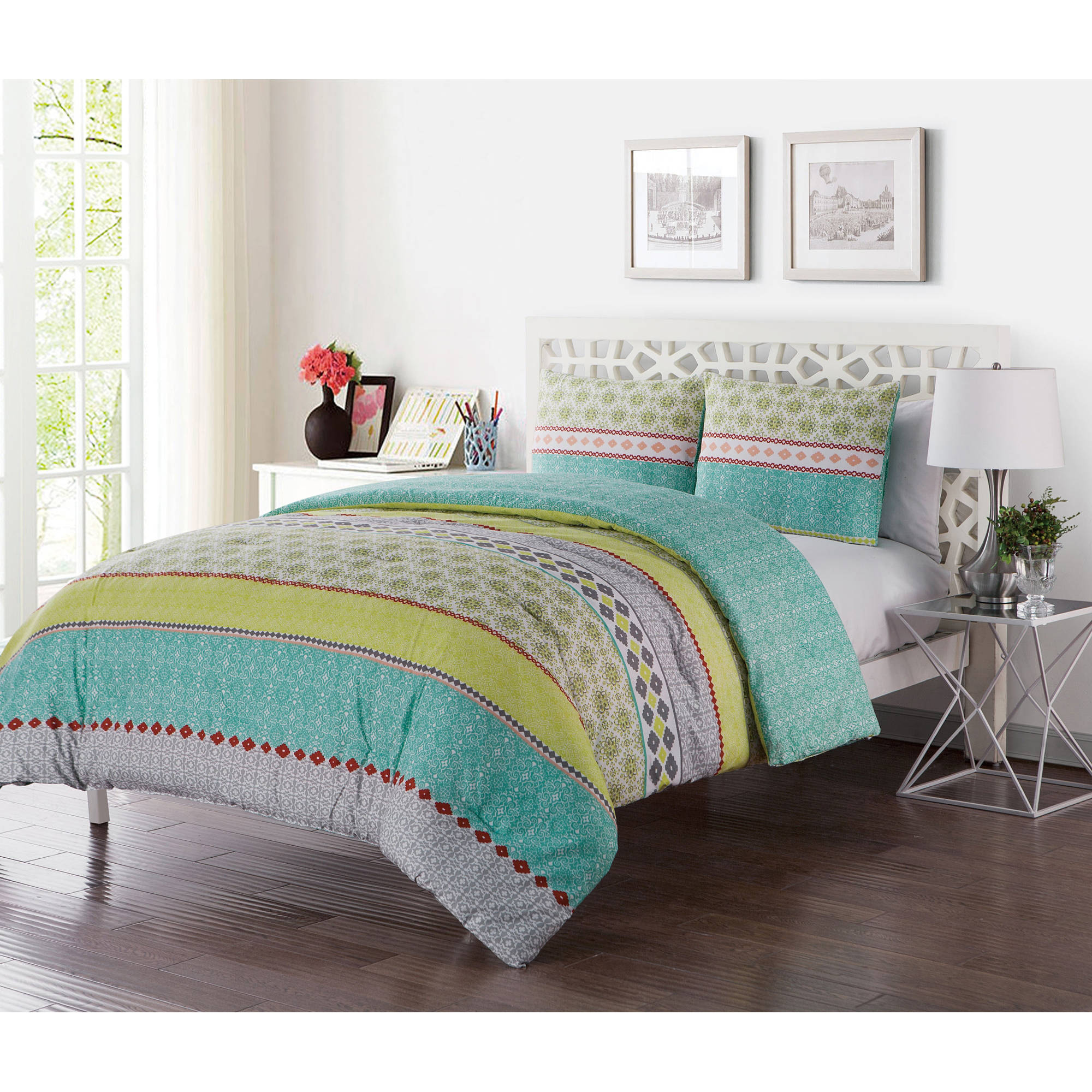 VCNY Home Multi-Color Geometric Printed 2/3 Piece Dharma Embellished Reversible Bedding Duvet Set, Shams Included