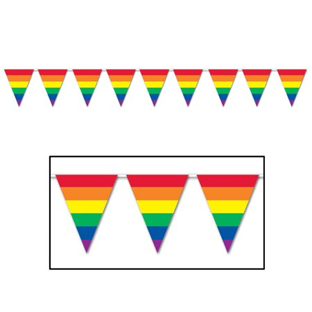 Rainbow Pennant Banner (Pack of 12) - image 1 de 1