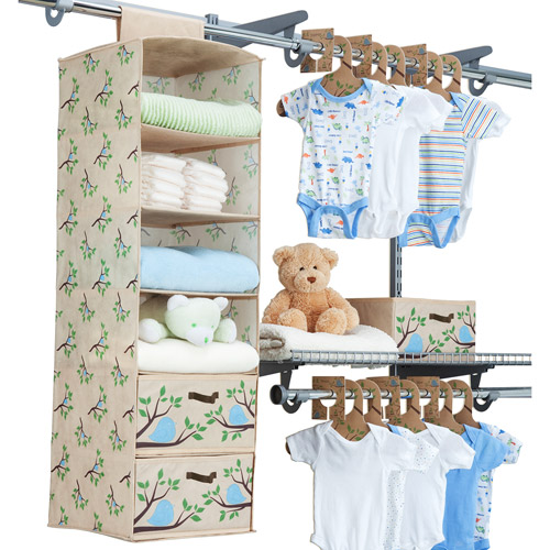 Delta - Eco Nursery Closet 20-Piece Starter Kit, Blue Chirp