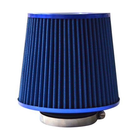 """Zimtown 4"""" Chrome 102mm Inlet High Flow Short Ram/Cold Intake Round Cone Air Filter Blue"""