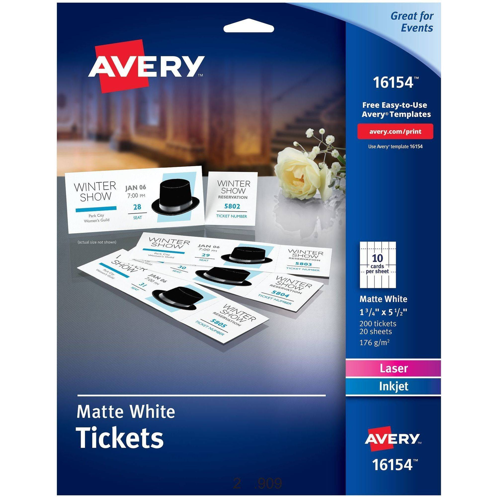 "Avery Printable Tickets with Tear-Away Stubs, 1-3/4"" x 5-1/2"", Matte White, 200 Tickets/Pack"
