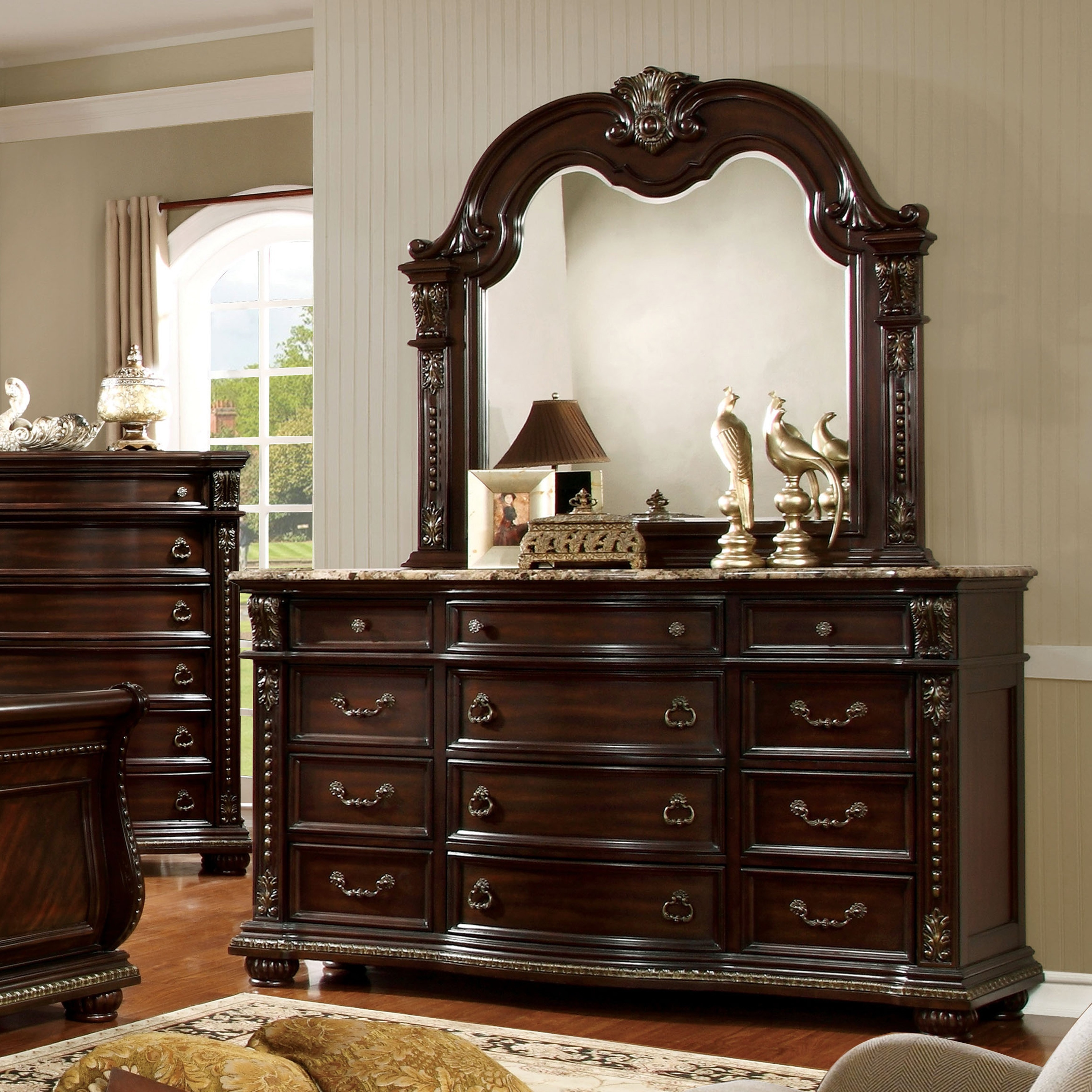 Furniture of America  Goodwell Traditional 2-piece Brown Cherry Marble Top Dresser and Mirror Set
