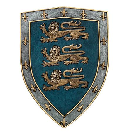 Medieval Times Three Lions Royal Coat of Arms Shield Wall Sculpture (Wedding Coat Of Arms)