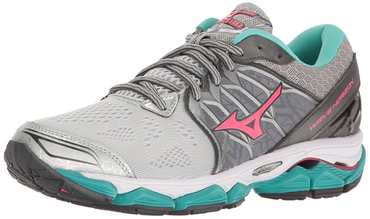 Mizuno Women's Wave Horizon Running Shoe, Silver Pink, 8 B US by Mizuno