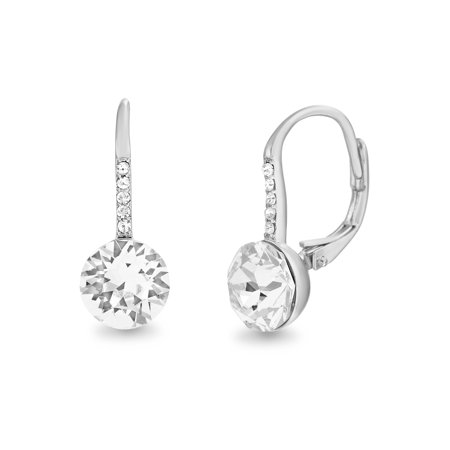 2ce2f5c14 Lesa Michele Faceted Crystal Leverback Earring In Sterling Silver. 1928  Silver Tone Swarovski Elements ...