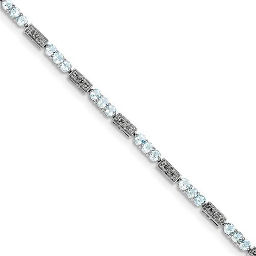 Sterling Silver Aquamarine & Diamond Bracelet. Carat Wt- 0.02ct. Gem Wt- 2.45ct by Jewelrypot