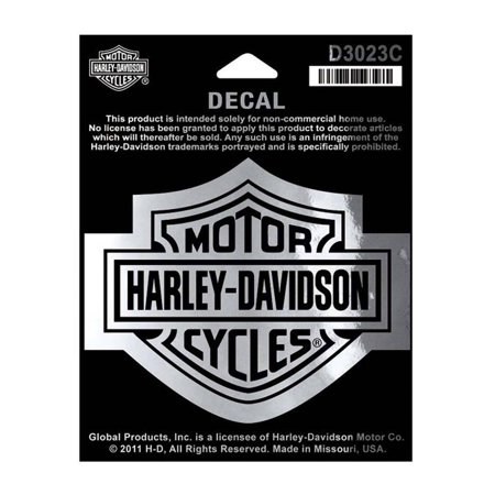 Harley-Davidson Bar & Shield Chrome Medium Decal, 3-15/16'' W x 3-1/8'' H D3023C, Harley - Harley Davidson Car Accessories