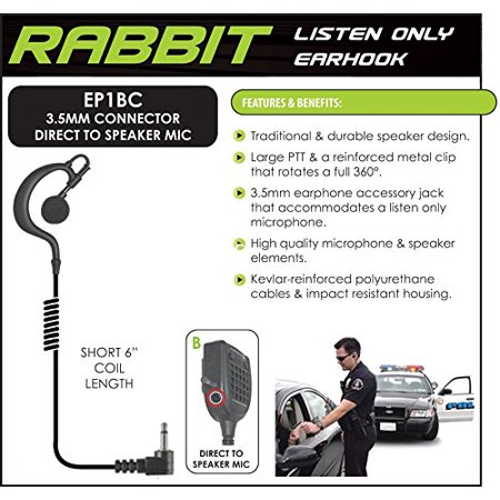 Rabbit Listen Only Earpiece_ Small Speaker _ 9 inch Cable _ 3.5mm Right Angle Plug