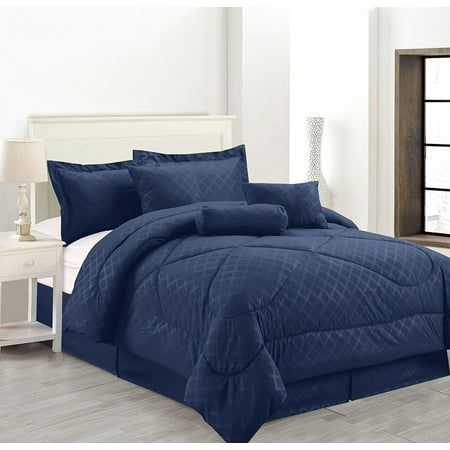 Luxury Hotel King Size 7-Piece Embossed Solid Over-Sized Comforter Set Bed in A Bag Navy Blue