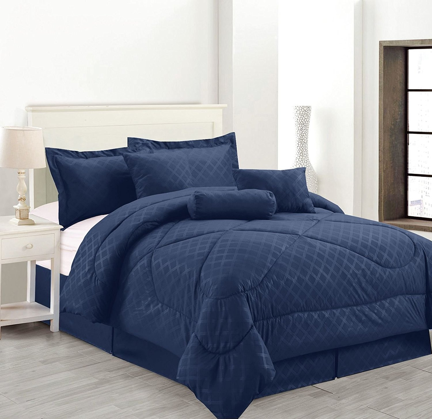 Luxury Hotel Queen Size 7-Piece Embossed Solid Over-Sized Comforter Set Bed in A Bag Navy Blue