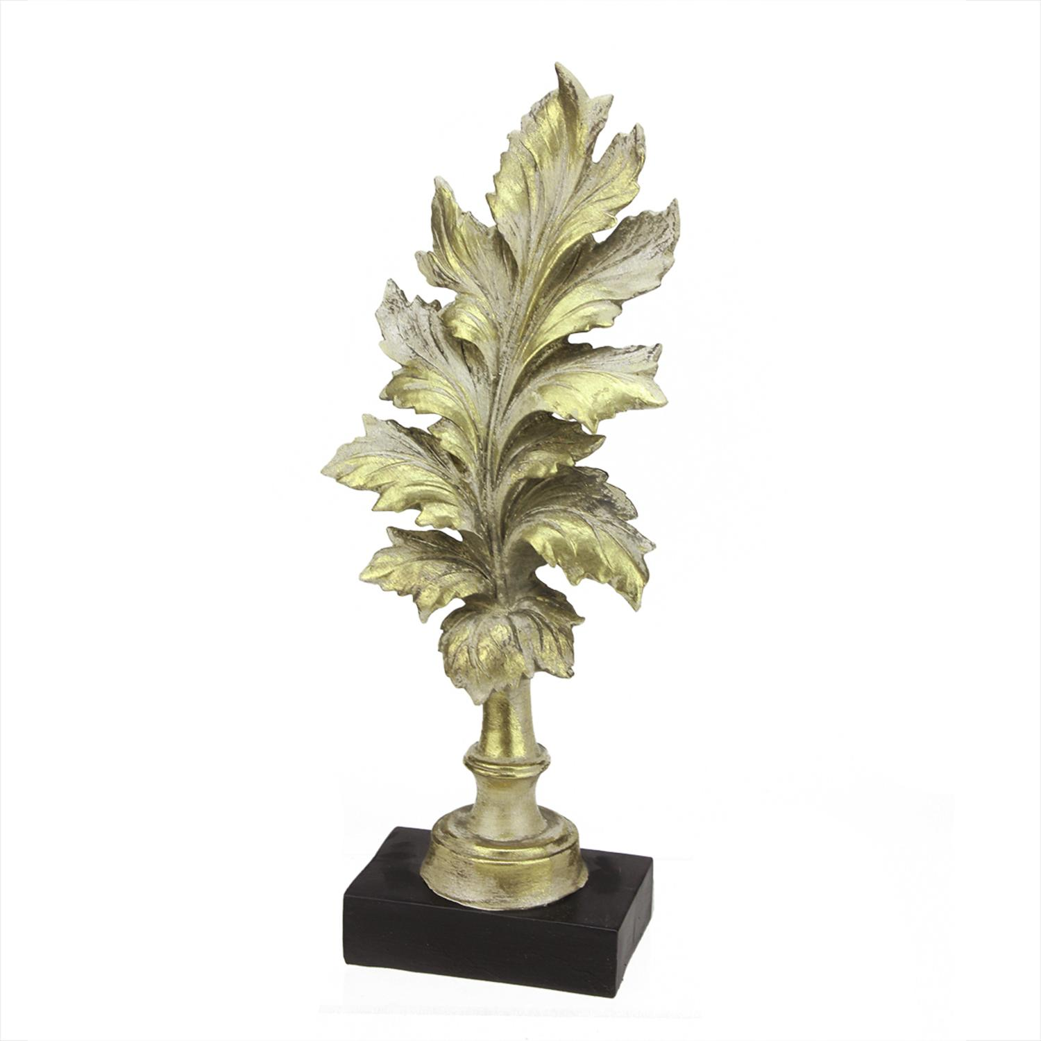 "Image of 15"" Rich Elegance Distressed Gold Leaf Finial with Black Base Christmas Decoration"