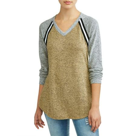 Juniors' Brushed Hacci Varsity Stripe Tie Front Raglan Sleeve T-Shirt - Junior Varsity Jacket