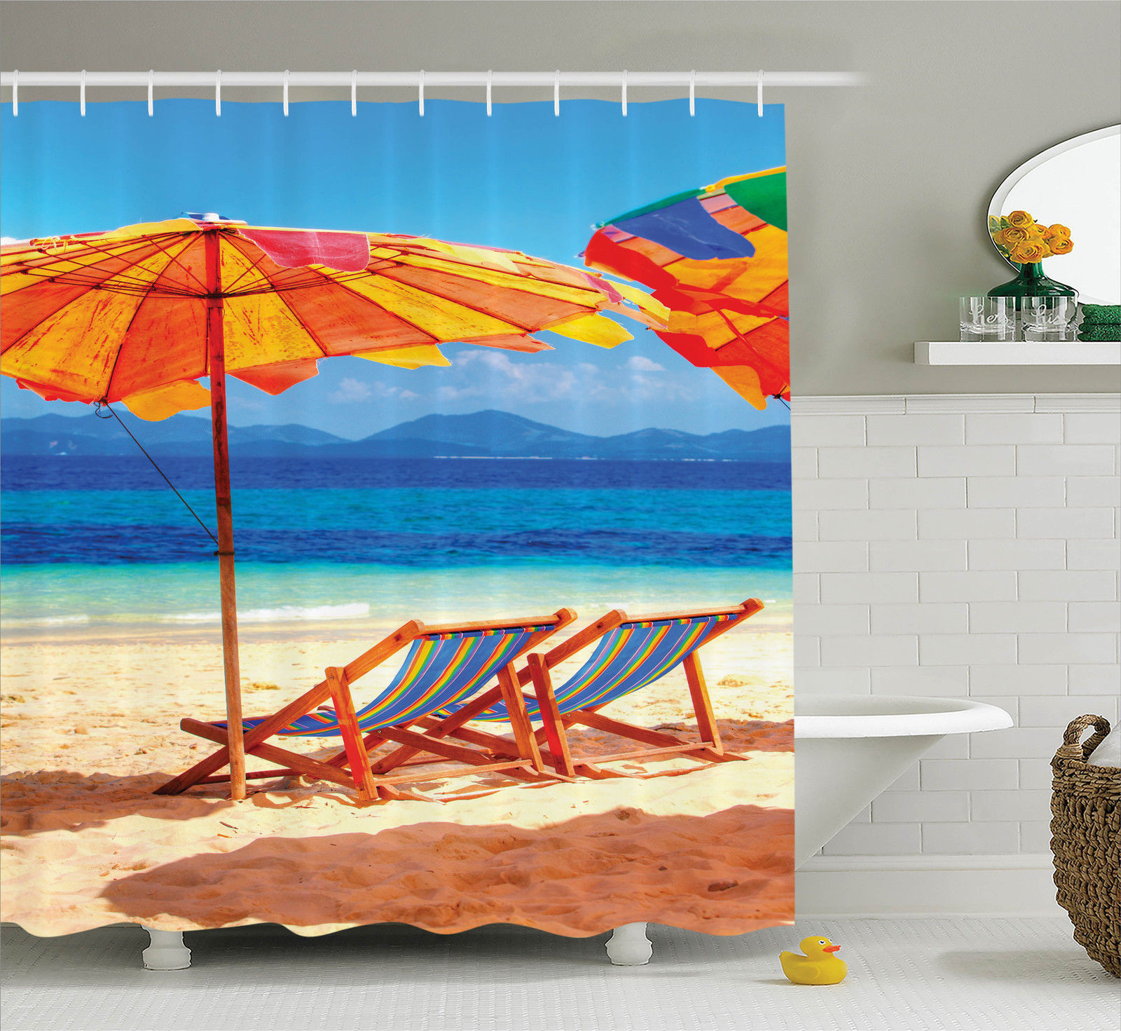 Seaside Decor Shower Curtain Set, Deck Chairs Overlooking Tropical Sea Of Thailand Beach Exotic Holiday Picture, Bathroom Accessories, 69W X 70L Inches, By Ambesonne
