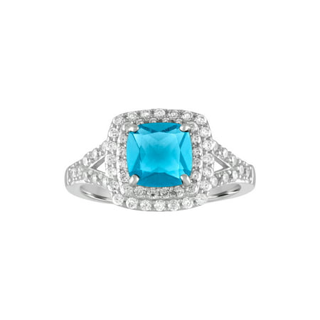 Judith Ripka Cushion Ring - Treated Blue Topaz and CZ Sterling Silver Double-Halo Cushion Ring
