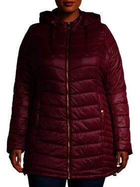 Mark Alan Women's Plus Size Hooded Mid Length Puffer Coat