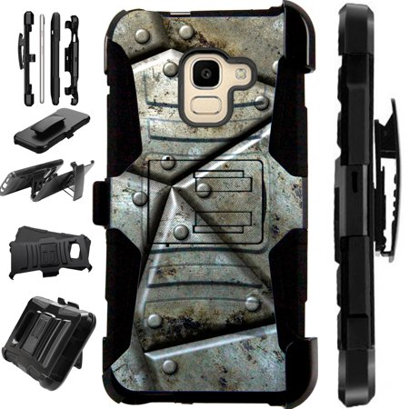 Bb Shell Set - Compatible Samsung Galaxy J6 2018 (Unlocked) Case Armor Hybrid Phone Cover LuxGuard Holster (Metal Shell)