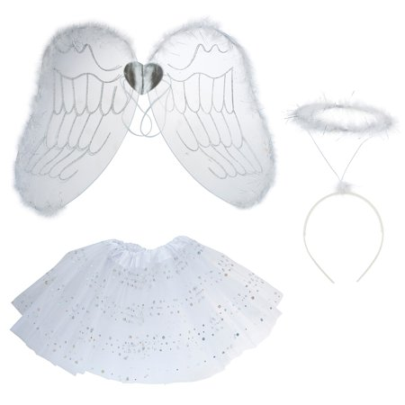 Lux Accessories White Angel Mini Skirt Angel Crown Wings Girls Costume Set