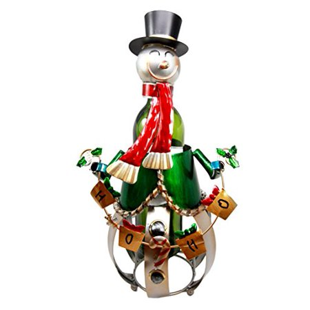 Ebros Gift Christmas Jolly Season Snowman Hand Made Metal Wine Bottle Holder Caddy Decor Figurine 16