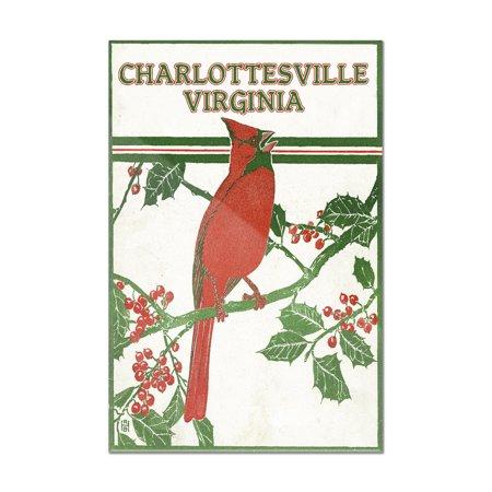 Manzanita Perch Multi Branch - Charlottesville, Virginia - Cardinal Perched on a Holly Branch (8x12 Acrylic Wall Art Gallery Quality)