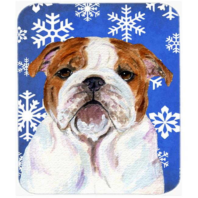 Bulldog English Winter Snowflakes Holiday Mouse Pad, Hot Pad or Trivet - image 1 de 1
