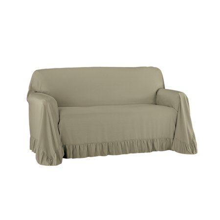 Round Furniture Cover (Ruffled Throw Furniture Protector Cover, Easy Fit Tuck in Place )