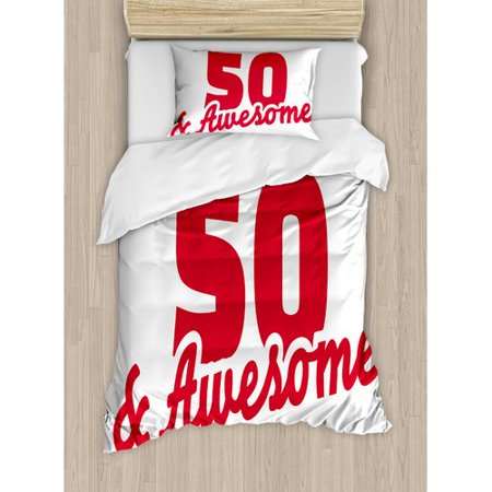 Ambesonne 50th Birthday Decorations Fifty and Awesome Cool and Fun Hand Written Happy Slogan Duvet Set - Red And Black 50th Birthday Decorations
