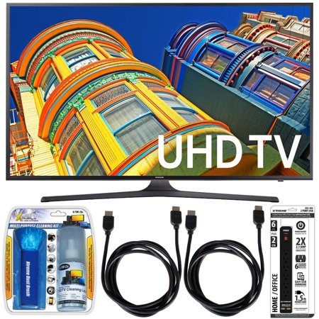 Samsung UN70KU6300 – 70″ Class KU6300 6-Series 4K Ultra HD TV Essential Accessory Bundle includes TV; Screen Cleaning Kit; 6 Outlet Power Strip with Dual USB Ports and 2 HDMI Cables