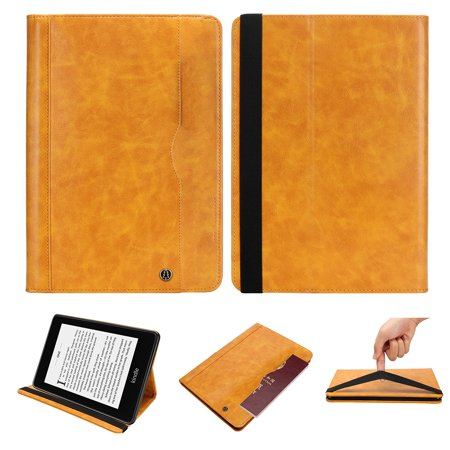 Kindle Paperwhite 2018 Case, Allytech Stand Folio Case Cover for Amazon All-New Kindle Paperwhite (10th Generation-2018), with Multiple Viewing Angles, Pencil Holder, Auto Sleep/Wake Function, Yellow Features: -- The premium multifunctional leather sleeve is specially designed for Amazon Kindle Paperwhite 2018. NOT fit for other models. -- Durable exterior PU leather construction and comfortable elastic band provide full protect for your iPad and Pencil. Ideal for home and office. -- Solid construction but no bulky, precise cutouts allows easy access to all buttons ,ports, sensors, speakers & camera. Auto sleep / wake feature operates iPad when cover is opened and closed. -- Interior card Holders are designed for you to carry your business cards / bank cards / SD digital card / SM card. -- With Front pocket provides to carry some notes or File and Stylus Holder to hold your --stylus or pen. Built-in stand special design for easy typing, emailing, gaming or video watching. -- Support auto sleep/wake function. Easy snap on and off. Full access to all features (cameras, speaker, ports and buttons)Package Include:-- 1*Case for Amazon Kindle Paperwhite 2018-- 1*Cleaning cloth(Free Gift )-- 1*Stylus pen (Free Gift)