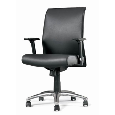 Task Chair w Slim Back Design & Leather Upholstery