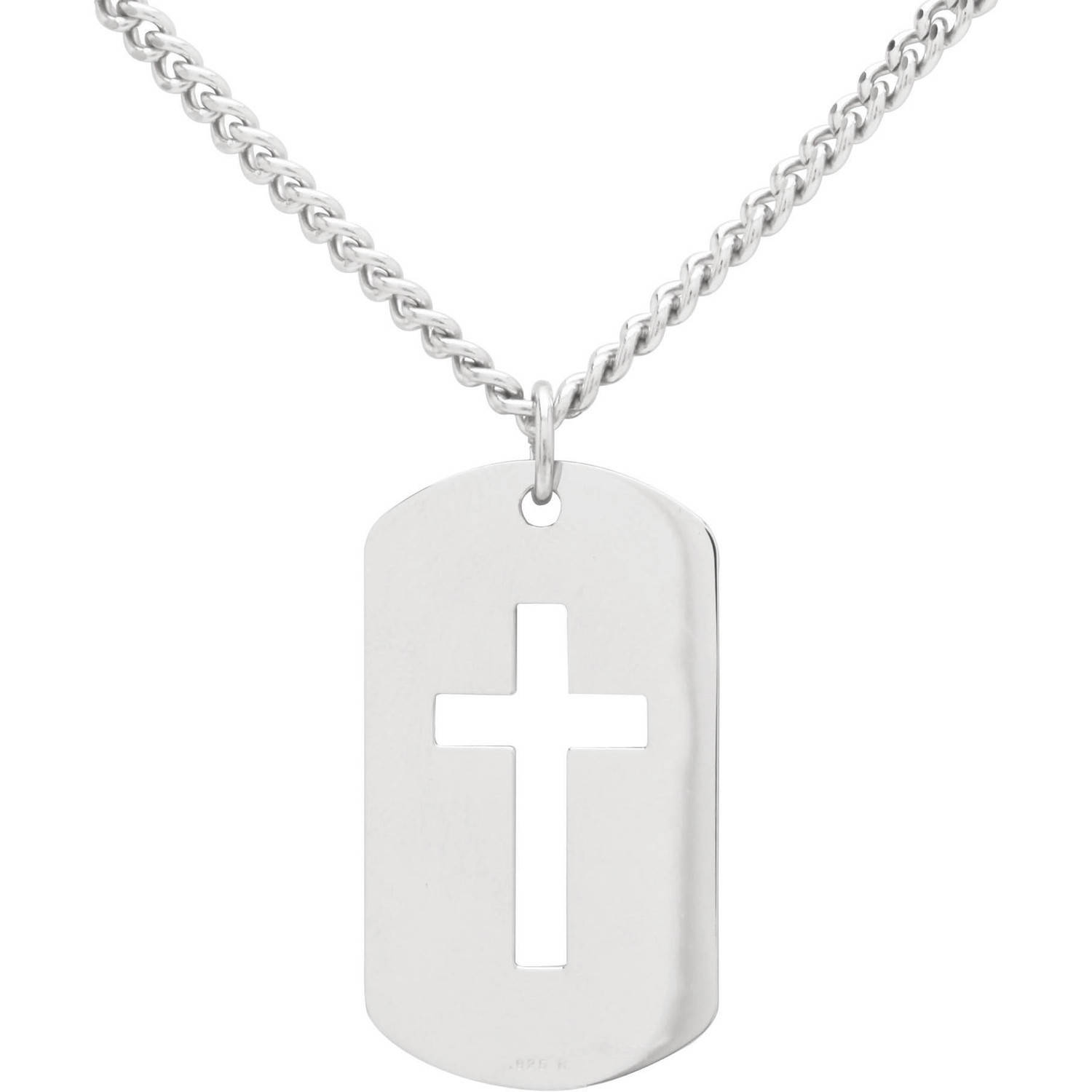 "Sterling Silver Dog Tag with Open Cross Pendant, 24"" Stainless Steel Chain"