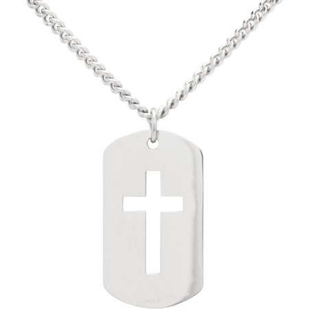 Surgical Steel Dog Tag Pendant (Sterling Silver Dog Tag with Open Cross Pendant, 24