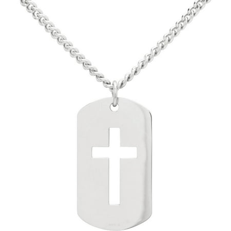 Sterling Silver Dog Tag with Open Cross Pendant, 24