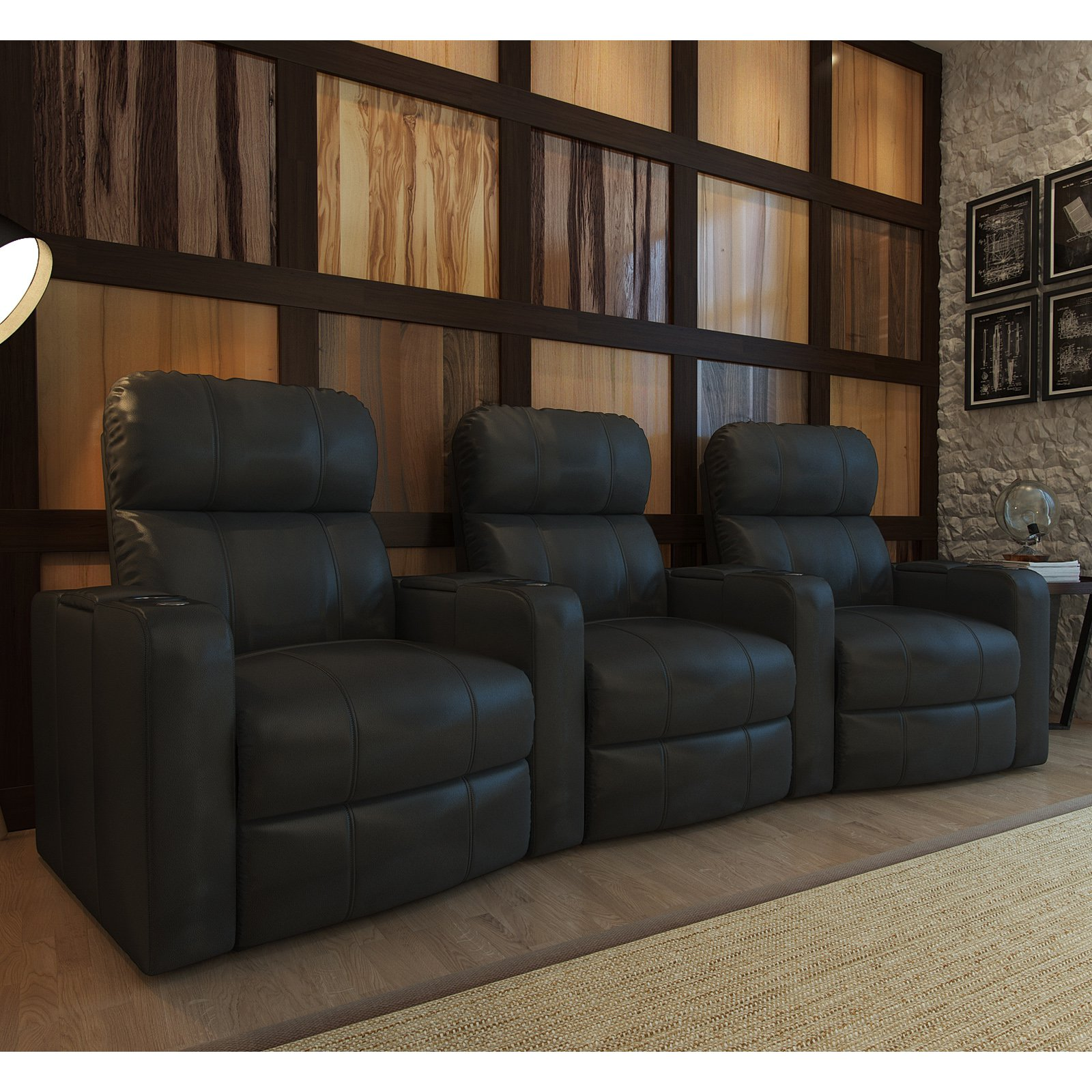Octane Turbo XL700 3 Seater Curved Bonded Leather Home Theater Seating