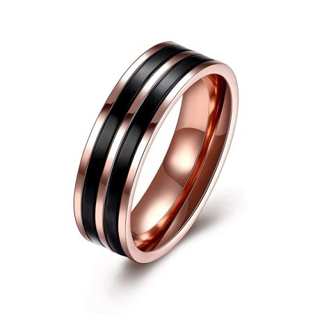 Ginger Lyne Collection Drew 6mm Band Black and Rose Gold Plated Over Stainless Steel Wedding Band Ring Size 8