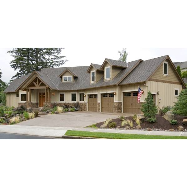 TheHouseDesigners-5902 Large Craftsman House Plan with Crawl Space Foundation (5 Printed Sets)