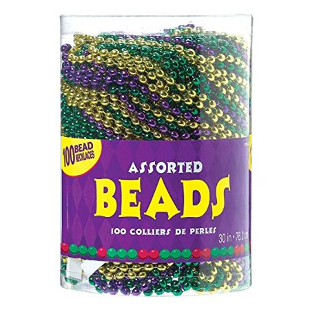 "Amscan Vibrant Mardi Gras Party Assorted Bead Necklaces (100 Piece), 30"", Green/Gold/Purple - image 1 de 1"