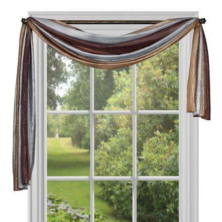 Ombre h Scarf, 50-Inch by 144-Inch, Chocolate, Panel, Tie Up and Valance sold separately By Achim Home Furnishings Ship from US ()