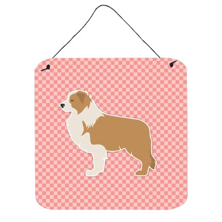 Red Border Collie Checkerboard Pink Wall or Door Hanging Prints BB3622DS66