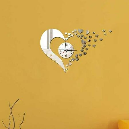 CARLTON Sweet Heart DIY Mirror Wall Clock Wall Sticker Home Decoration