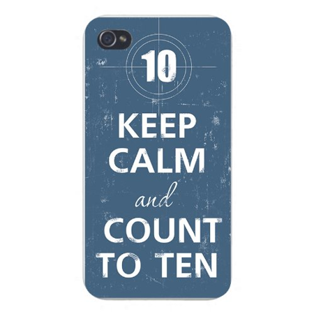 Apple Iphone Custom Case 4 4s White Plastic Snap on - Keep Calm and Count To 10 w/ Sniper Scope Target