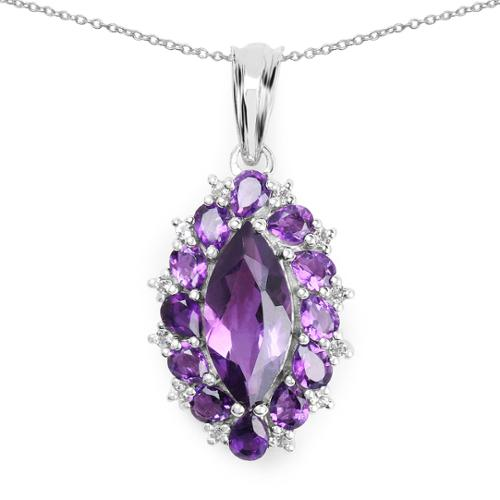 Malaika  4.57 Carat Genuine Amethyst and White Topaz .925 Sterling Silver Pendant