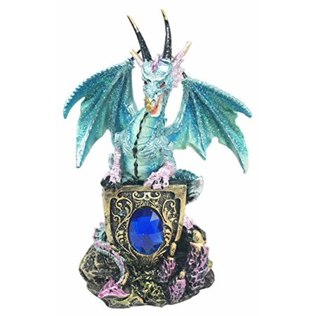 Ferocious Azure Dragon Guarding Blue Saphire Ancient Relic Stone Figurine Collectible Resin - Vintage Blue Resin