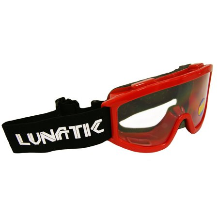 , L100YR, YOUTH Goggles - Red - Dirtbike ATV MX - Single Lens - Adjustable Strap, Single lens - clear Sized to fit youth and smaller adult faces By Lunatic