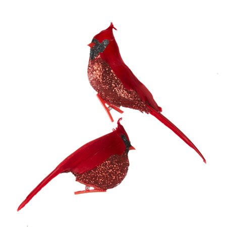 club pack of 12 glittered red cardinal bird clip on christmas ornaments