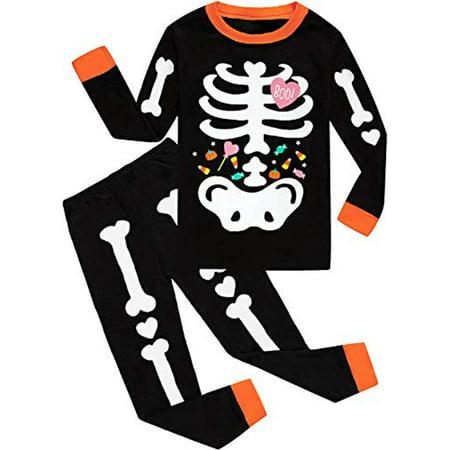 Toddler Girls Halloween Pajamas Glow in The Dark Pjs Cotton 2 Piece Pajama Set Skeleton Sleepwear for Kids - image 1 of 4
