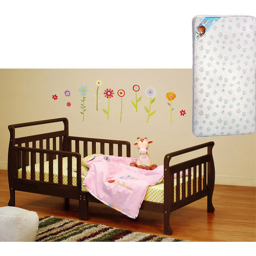 Athena Classic Sleigh Toddler Bed w/Mattress Bundle (Your Choice in Finish)