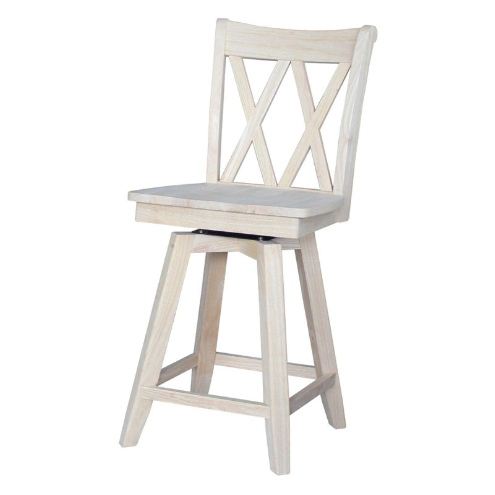 Pleasing International Concepts Double X Back Counter Stool 24 Ready To Finish Creativecarmelina Interior Chair Design Creativecarmelinacom