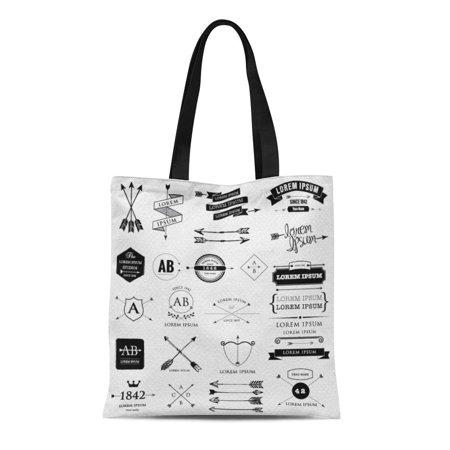 SIDONKU Canvas Tote Bag Shield Retro Arrows Labels Ribbons Symbols Such As File Durable Reusable Shopping Shoulder Grocery Bag ()